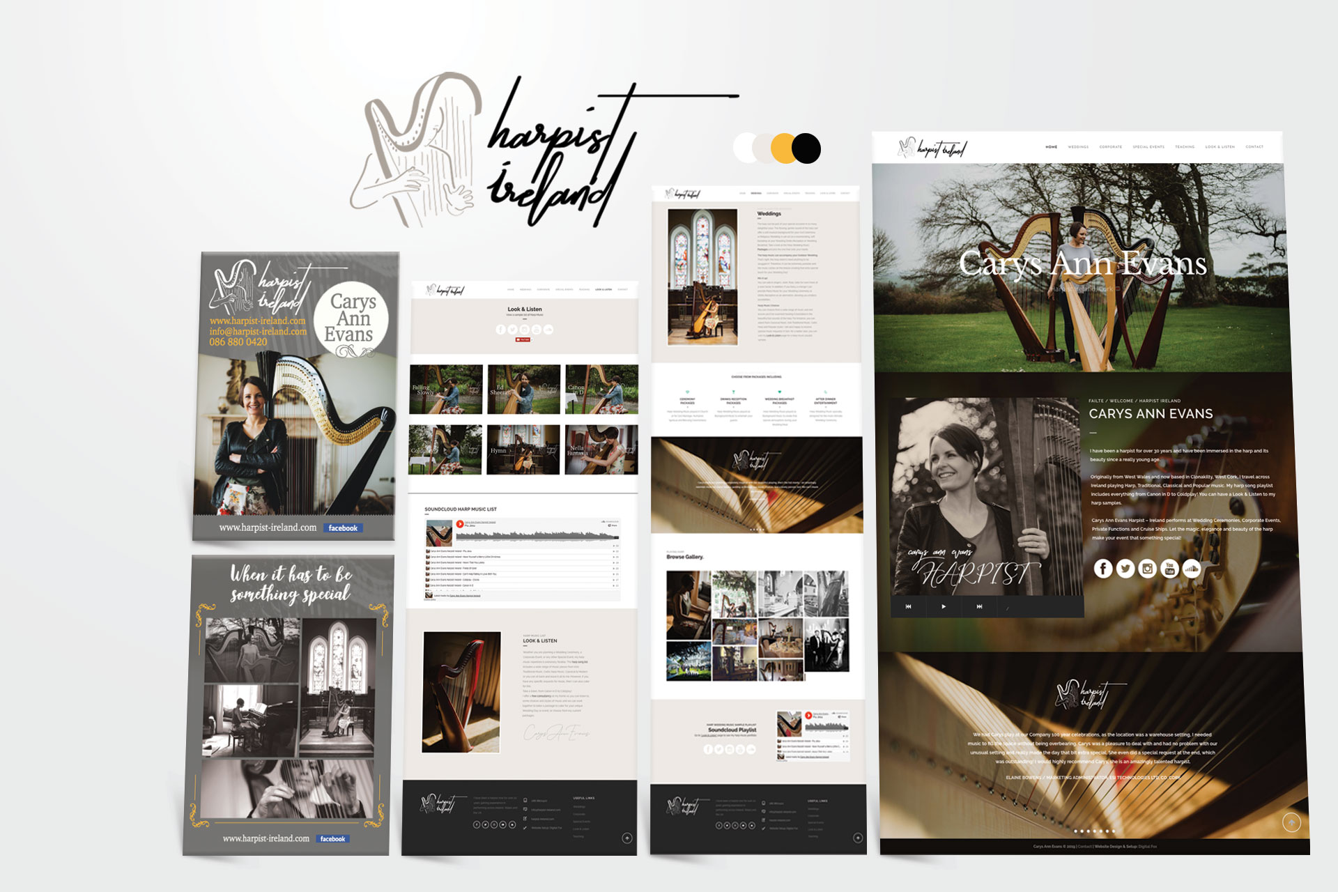 harpist ireland website design for artists Clonakilty, West Cork